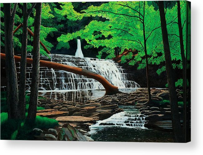 Waterfall Acrylic Print featuring the painting Salt Springs by Mark Regni