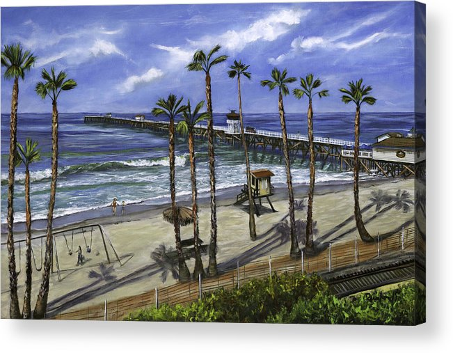 Pier Acrylic Print featuring the painting San Clemente Pier by Lisa Reinhardt