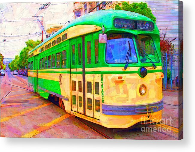 Wingsdomain Acrylic Print featuring the photograph San Francisco F-line Trolley by Wingsdomain Art and Photography