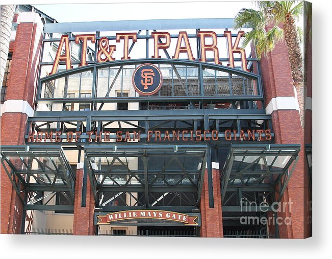 Sport Acrylic Print featuring the photograph San Francisco Giants Att Park Willie Mays Entrance . 7d7635 by Wingsdomain Art and Photography