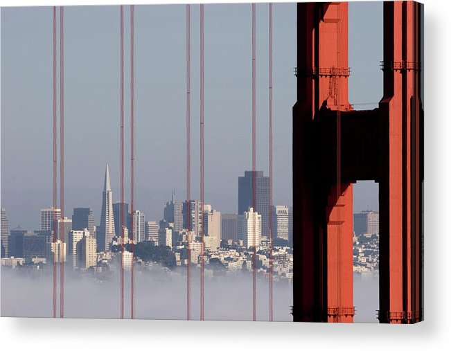 Horizontal Acrylic Print featuring the photograph San Francisco Skyline From Golden Gate Bridge by Mona T. Brooks