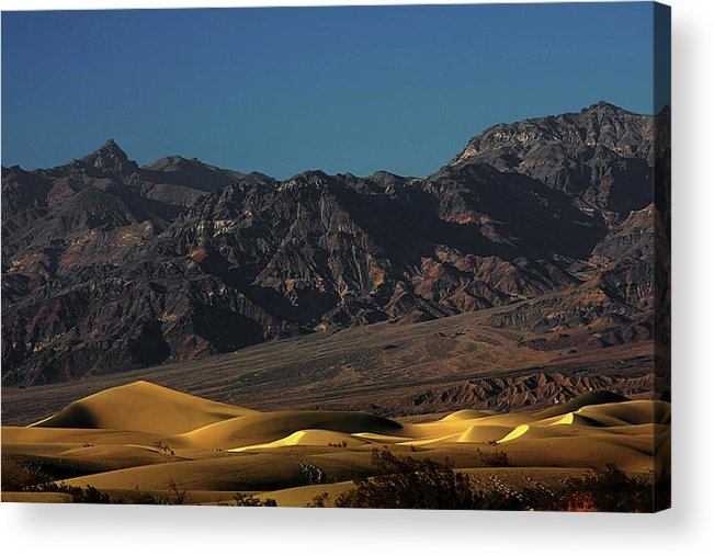 Eath Valley National Park Acrylic Print featuring the photograph Sand Dunes - Death Valley's Gold by Christine Till