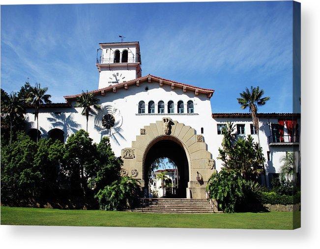 Santa Barbara Acrylic Print featuring the mixed media Santa Barbara Courthouse -by Linda Woods by Linda Woods