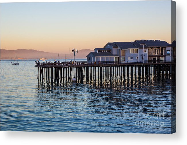 Santa Barbara Acrylic Print featuring the photograph Santa Barbara Wharf At Sunset by Suzanne Luft