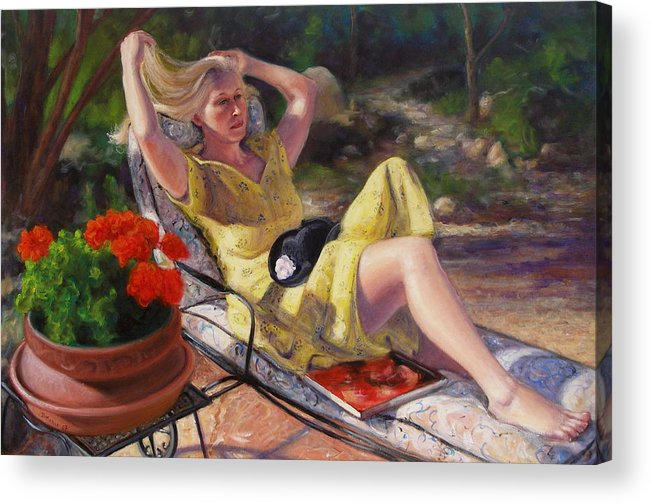 Realism Acrylic Print featuring the painting Santa Fe Garden 4 by Donelli DiMaria
