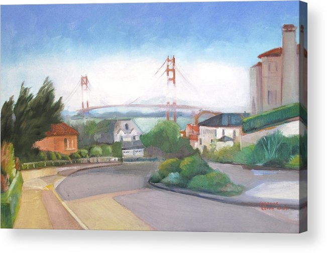 Golden Gate Bridge Acrylic Print featuring the painting Seacliff Vision With Golden Gate Bridge In Fog by Suzanne Cerny