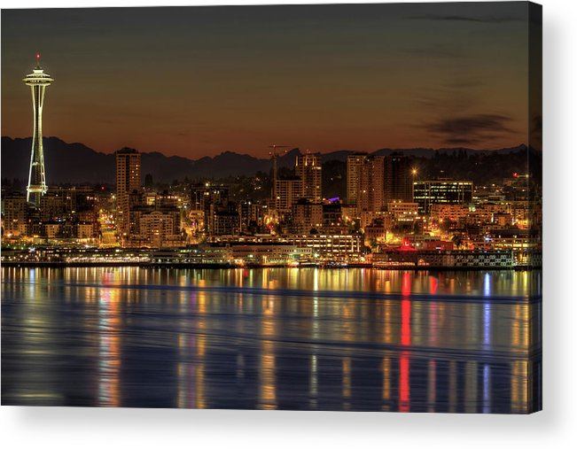 Horizontal Acrylic Print featuring the photograph Seattle Downtown Skyline From Alki Beach Dawn by David Gn Photography