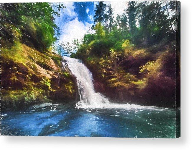Secret Acrylic Print featuring the digital art Secret Falls by John Haldane
