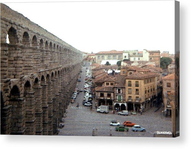 Segovia Acrylic Print featuring the digital art Segovia Aquaduct by Al Blackford