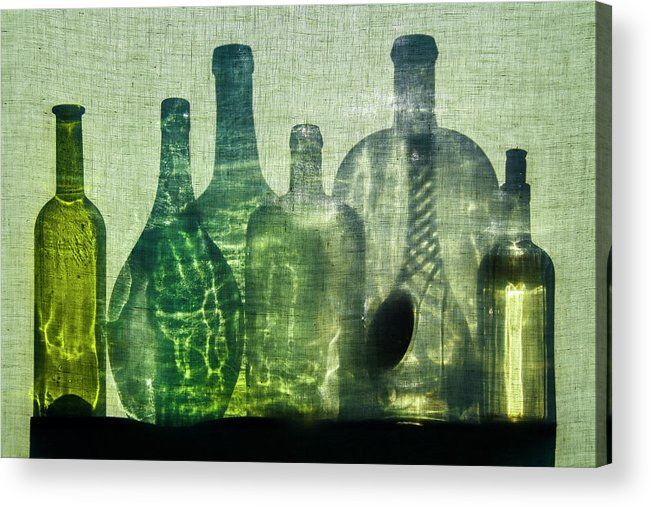 Still Life Acrylic Print featuring the photograph Seven Bottles by Michal Jansa
