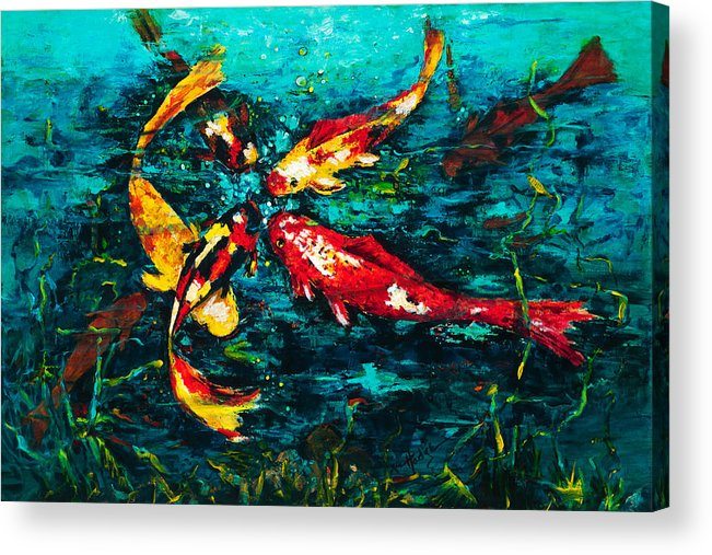 Koy Acrylic Print featuring the painting Seven Koi by Mary DuCharme