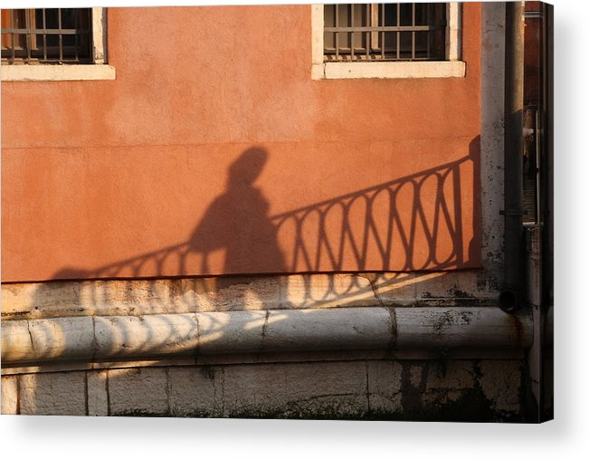 Venice Acrylic Print featuring the photograph Shadow Of A Person Crossing The Shadow Of A Bridge In Venice by Michael Henderson
