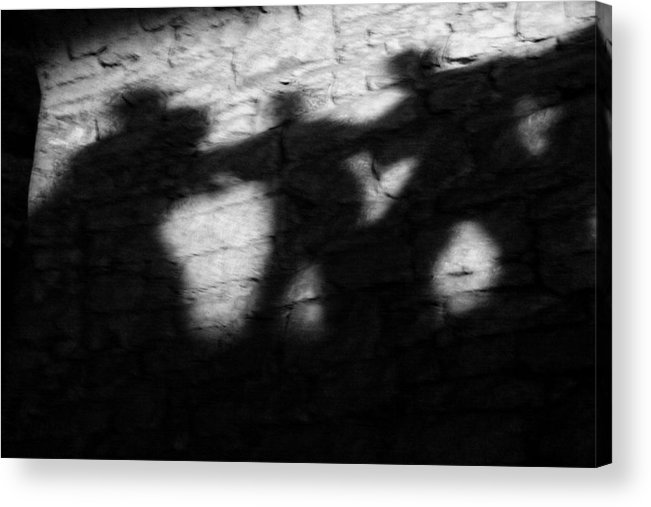 Wall Acrylic Print featuring the photograph Shadows On The Wall Of Edinburgh Castle by Christine Till