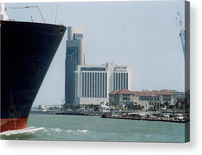Marine Acrylic Print featuring the photograph Ship And Shoreline by Wendell Baggett