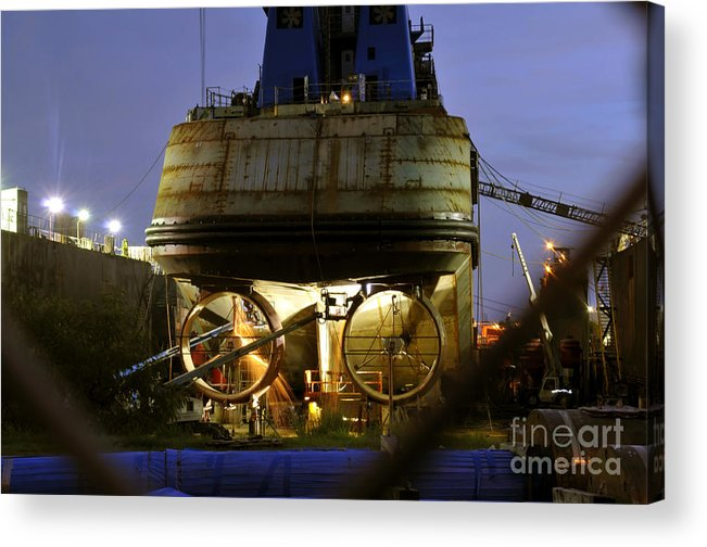 Shipyard Acrylic Print featuring the photograph Shipyard Work by David Lee Thompson
