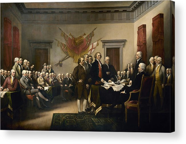 Declaration Of Independence Acrylic Print featuring the painting Signing The Declaration Of Independence by War Is Hell Store