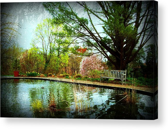 Bench Acrylic Print featuring the photograph Sit And Ponder - Deep Cut Gardens by Angie Tirado
