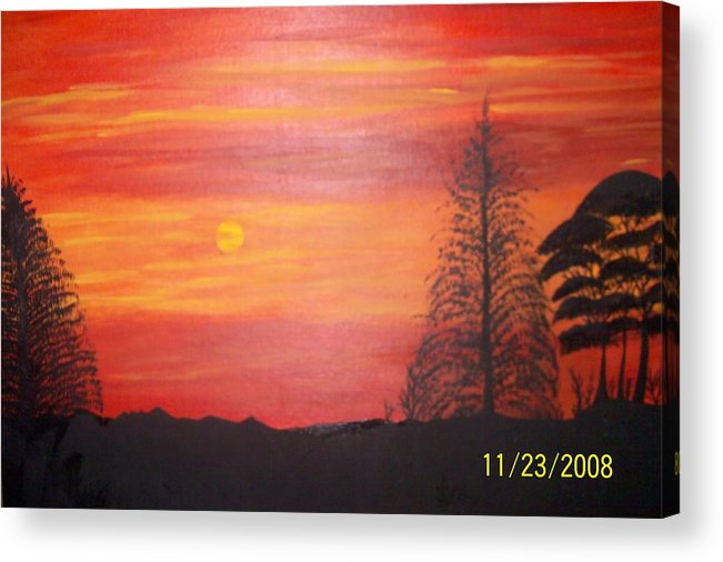 Landscape Acrylic Print featuring the painting Sky On Fire by Paula Ferguson