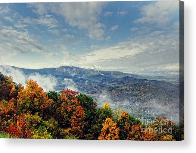 Nature Acrylic Print featuring the photograph Skyline Drive Autumn Morning by Tom Gari Gallery-Three-Photography