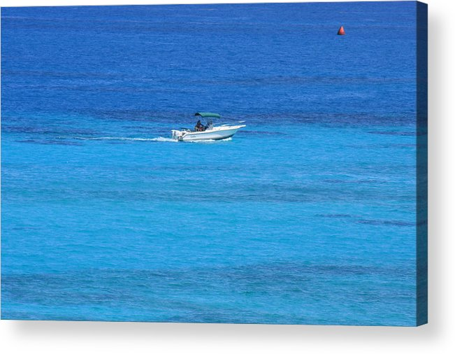 Small Boat Off The Coast Of Bermuda Acrylic Print featuring the photograph Small Boat by William Rogers