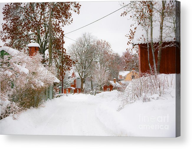 Winter Acrylic Print featuring the photograph Small Village In Sweden In Lots Of Snow by Kathleen Smith