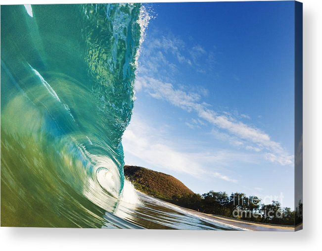 Aqua Acrylic Print featuring the photograph Smooth Wave - Makena by MakenaStockMedia