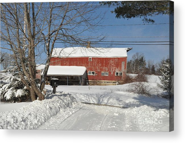 Barn Acrylic Print featuring the photograph Snow Covered Masachussetts Barn by John Black