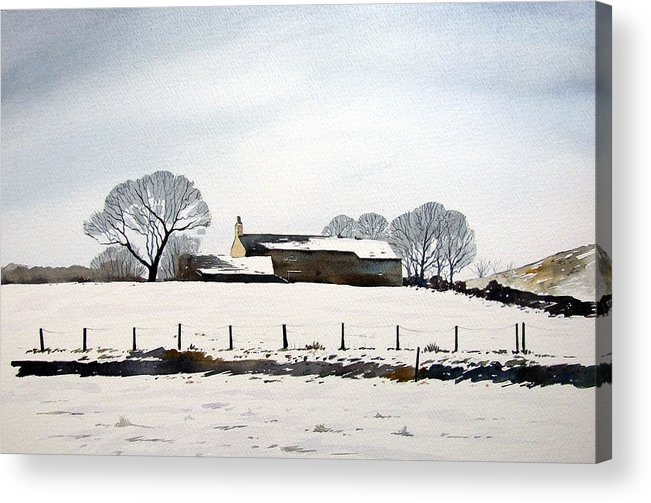 Winter Scene Acrylic Print featuring the painting Snow Scene Barkisland by Paul Dene Marlor