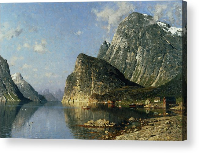 Reflection; Steamer Acrylic Print featuring the painting Sogne Fjord Norway by Adelsteen Normann