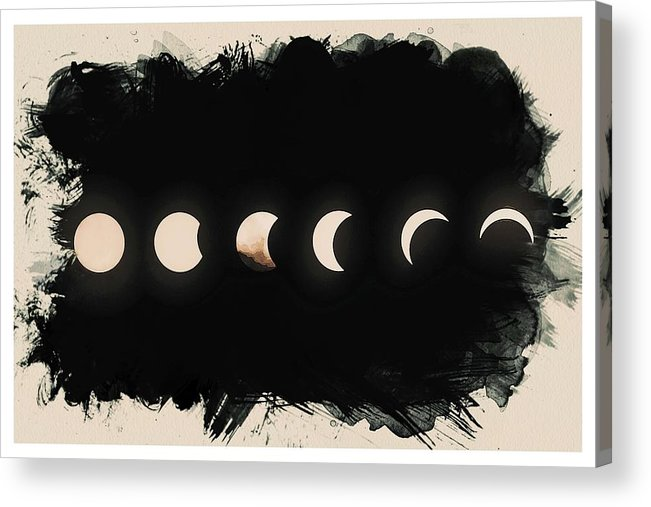 Sun Acrylic Print featuring the painting Solar Eclipse Phases by Celestial Images
