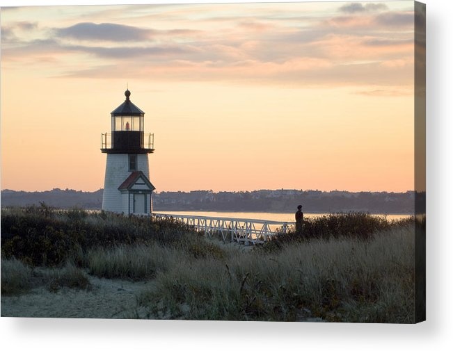 Nantucket Acrylic Print featuring the photograph Solitude At Brant Point Light Nantucket by Henry Krauzyk