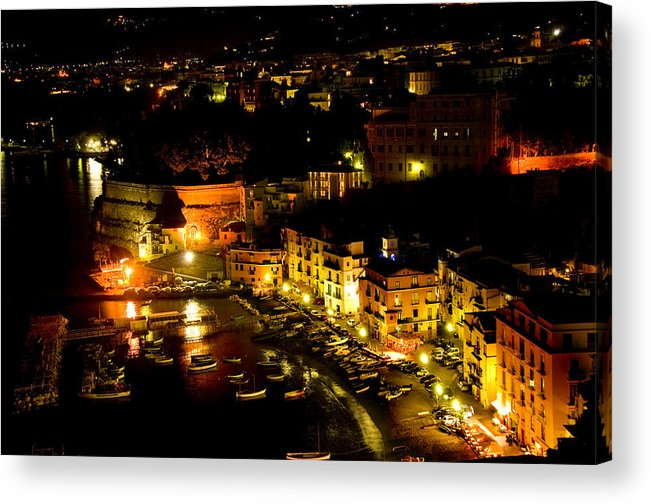Sorrento Acrylic Print featuring the photograph Sorrento Harbor At Night by Xavier Cardell