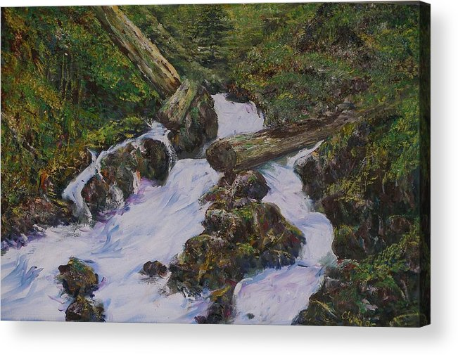 Landscape Acrylic Print featuring the painting Sound Of Water by Wendy Chua