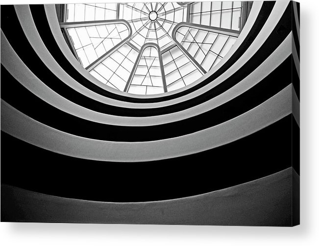 America Acrylic Print featuring the photograph Spiral Staircase And Ceiling Inside The Guggenheim by Sami Sarkis