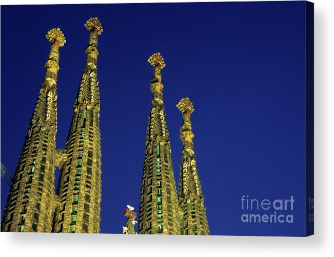 Architectural Acrylic Print featuring the photograph Spires Of The Sagrada Familia Cathedral At Dusk by Sami Sarkis