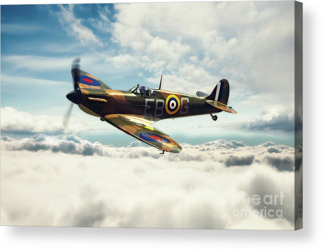 Supermarine Spitfire P7350 Acrylic Print featuring the digital art Spitfire P7350 by J Biggadike