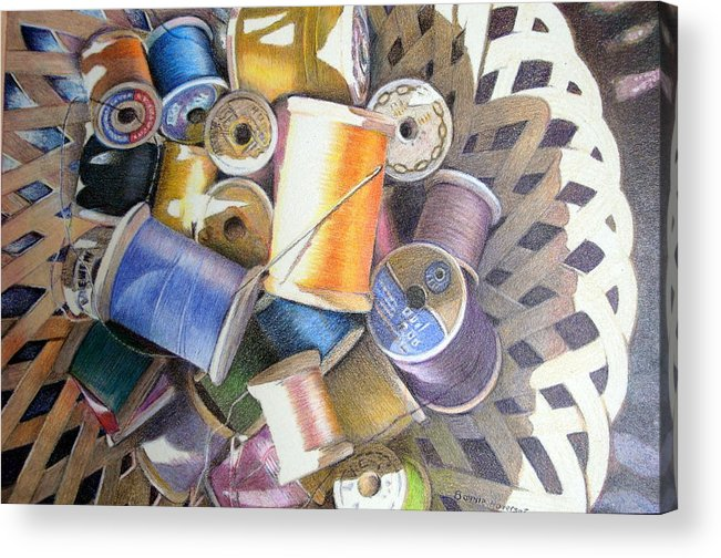 Still Life Acrylic Print featuring the painting Spools by Bonnie Haversat