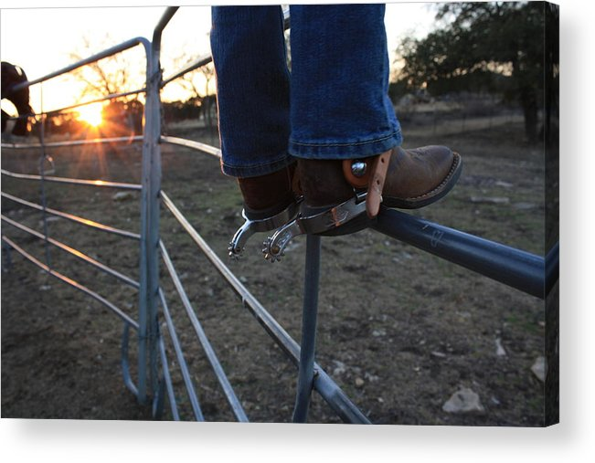Boots Acrylic Print featuring the photograph Spurs At Sunset by Sherry Klander