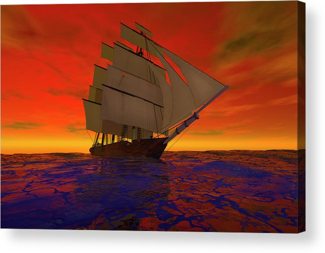 Adventure Acrylic Print featuring the digital art Square-rigged Ship At Sunset by Carol and Mike Werner