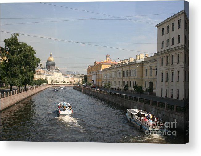 Canal Acrylic Print featuring the photograph St. Petersburg Canal - Russia by Christiane Schulze Art And Photography