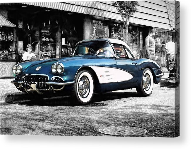 Corvette Acrylic Print featuring the digital art Standing Out by Peter Chilelli