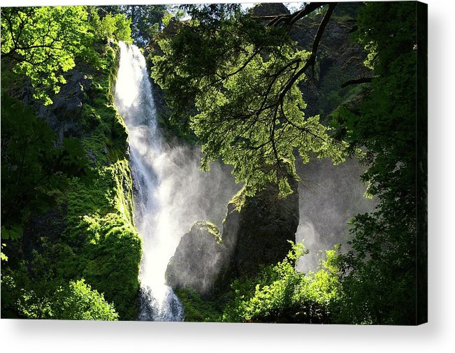 Waterfalls Acrylic Print featuring the photograph Starvation Creek Falls In September by Jeff Swan