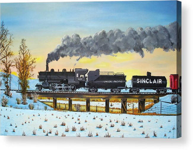Trains-steamtrains-paintings-landscape Trains -landscapes Skies- Locomotives Bridges Acrylic Print featuring the painting Steam Train One From Mike Massee Photo by Stephen Ponting