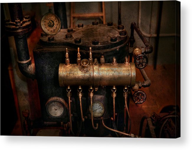 Steampunk Acrylic Print featuring the photograph Steampunk - Plumbing - The Valve Matrix by Mike Savad