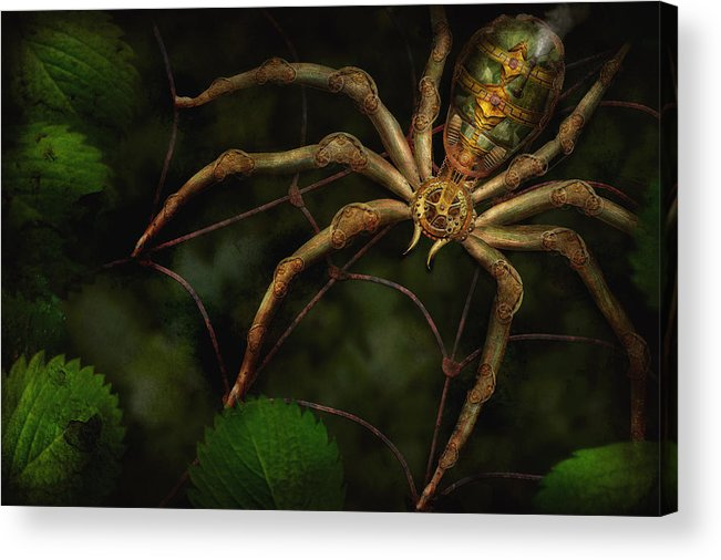 Steampunk Acrylic Print featuring the photograph Steampunk - Spider - Arachnia Automata by Mike Savad