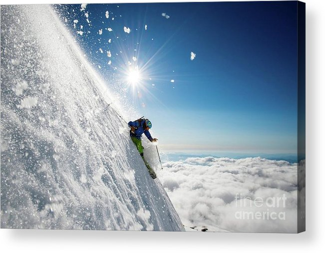Steep Acrylic Print featuring the photograph Steep Summer Volcano Skiing by Ad Salaheddine
