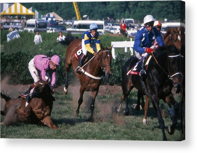 Steeplechase Acrylic Print featuring the photograph Steeplechase Spill - 1 by Randy Muir