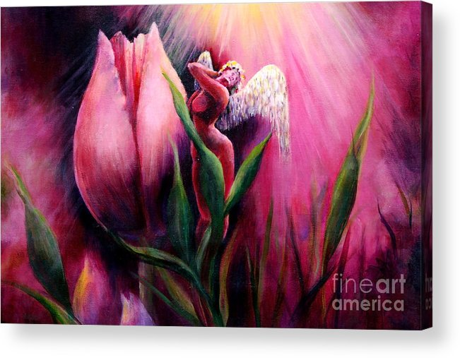 Angel Acrylic Print featuring the painting Stephanie by Myra Goldick