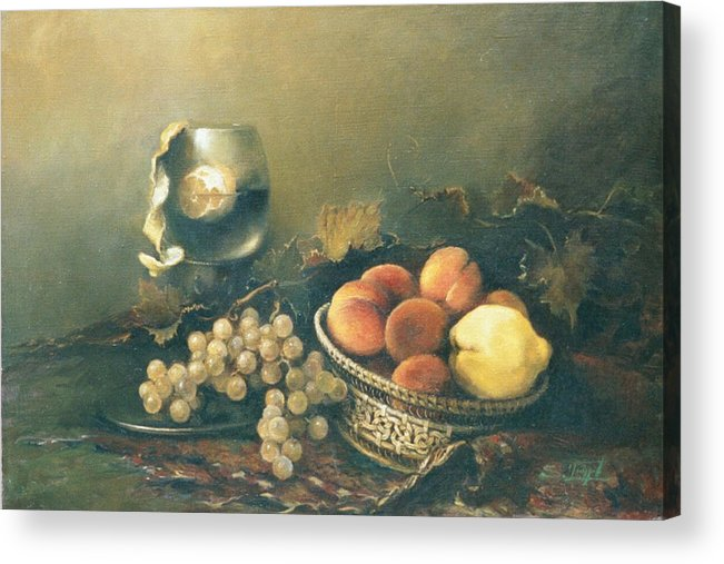 Armenian Acrylic Print featuring the painting Still-life With Peaches by Tigran Ghulyan