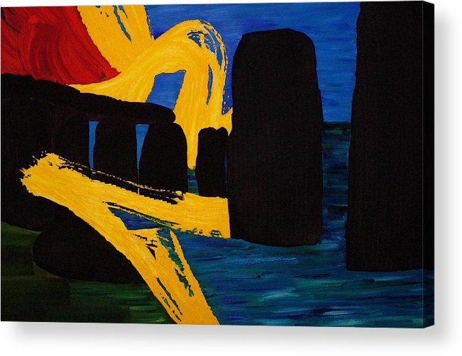 Stonehenge Acrylic Print featuring the painting Stonehenge Abstract Evolution1 by Gregory Allen Page